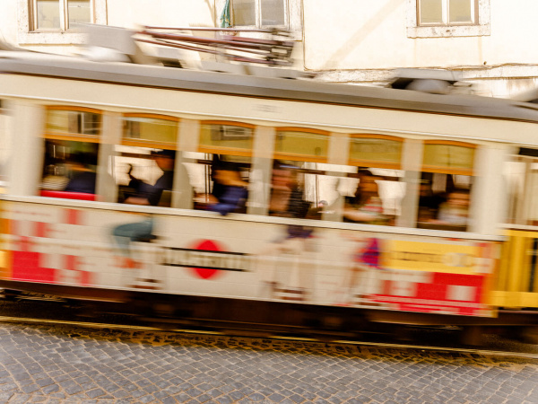 Tram on the move